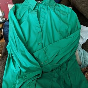 Kelly Green button down blouse size Large